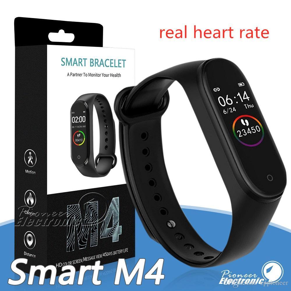 M4 inteligente Banda de Fitness Rastreador relógio de pulseira de freqüência cardíaca relógio inteligente 0,96 polegadas Smartband Health Monitor Pulseira PK mi banda 4