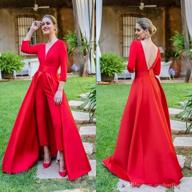 2019 Sexy Red Jumpsuits 댄스 파티 드레스 3/4 Long Sleeves V 넥 정장 이브닝 드레스 파티 용 의상 파삭 파삭 한 특별 바지