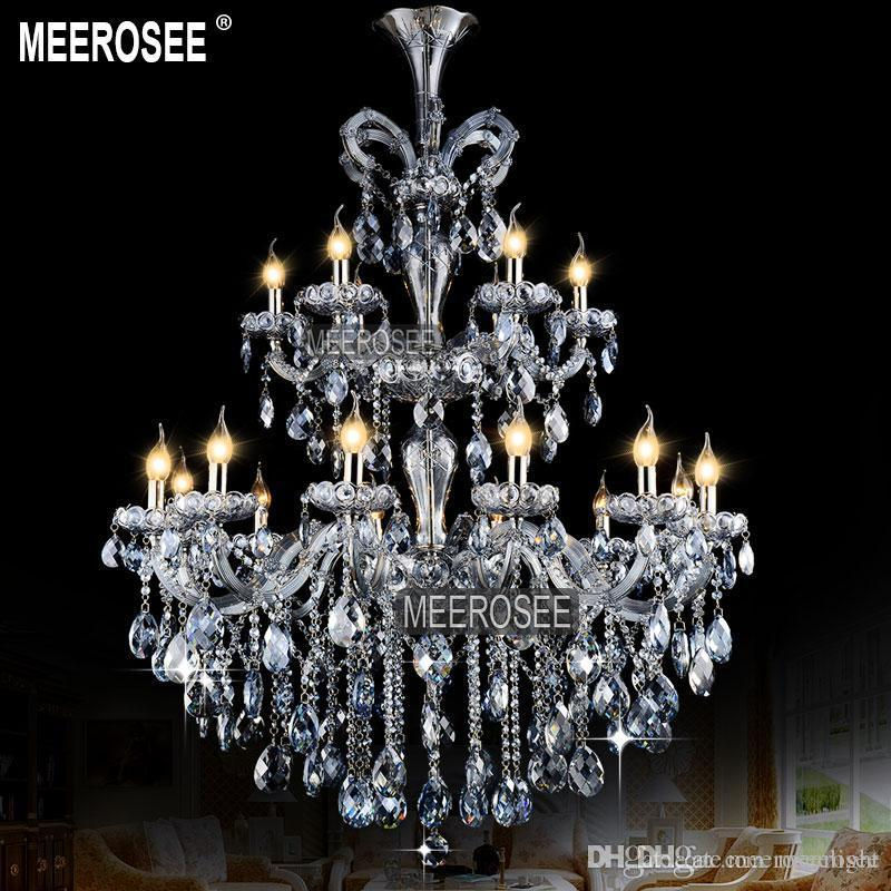 Wholesale Chandeliers Lighting Light Blue Maria Theresa Large Crystal Chandelier Light Crystal Lighting Fitting lustres pendentes 18 Lamps
