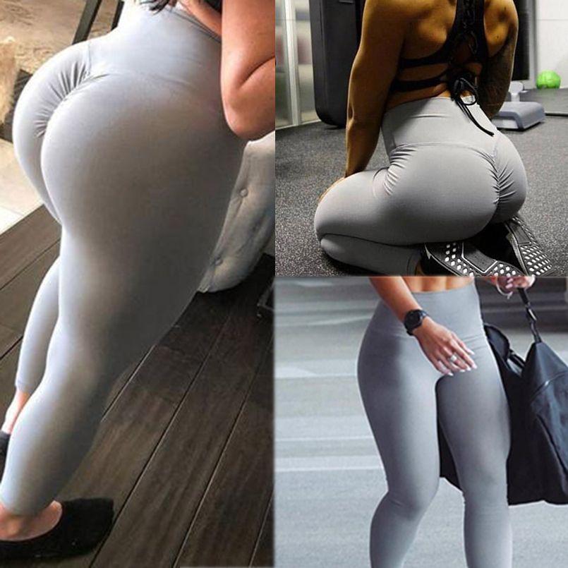 Leggings da palestra Sport Donna Fitness Yoga Pantaloni Vita alta Allenamento Leggins Scrunch Butt Lift Abbigliamento sportivo Pantaloni a vita alta Mujer C19032801