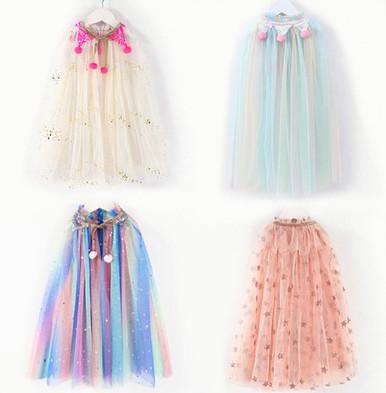 Sweet girls lace tulle princess shawl children Halloween poncho kids star sequins colorful princess capes children Cosplay clothing A1912