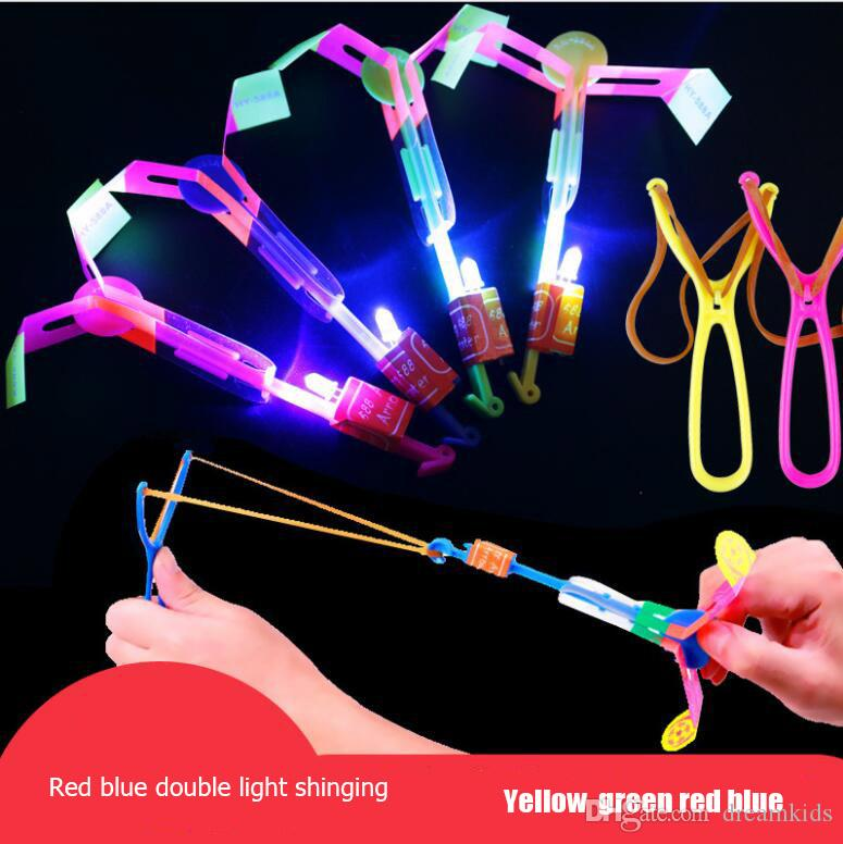 Amazing LED Light Arrow Rocket Helicopter Rotating Flying Toys Party Fun Kids Outdoor Flashing Toy Fly Arrow