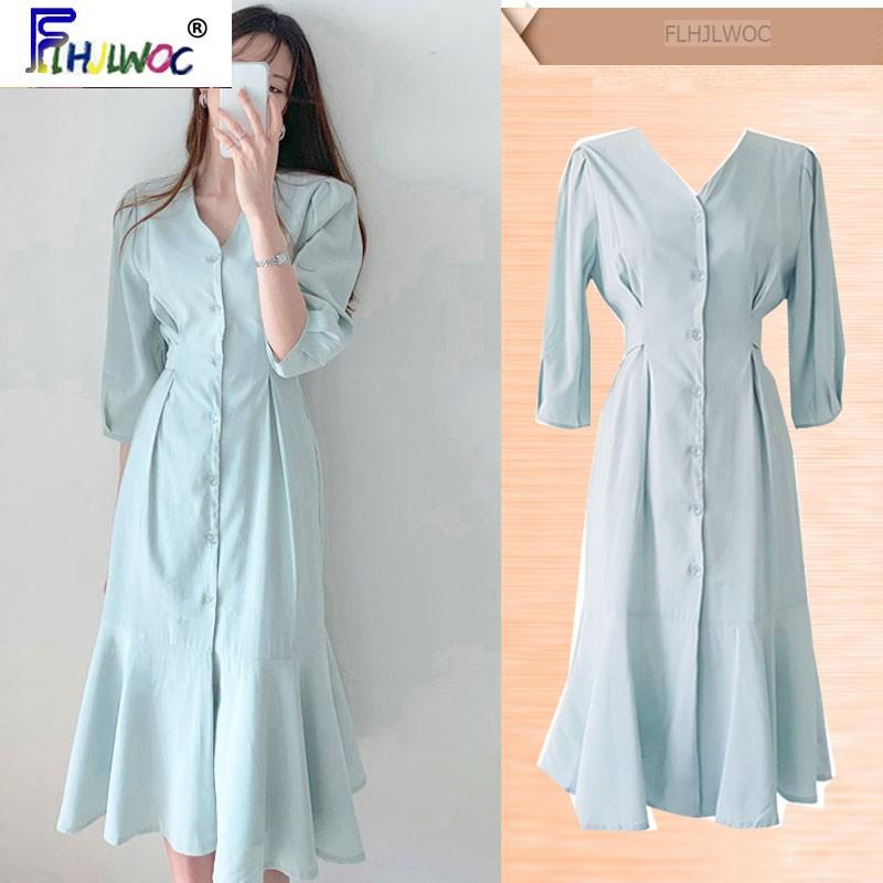 Temperament Chic Dress New Design Hot Women Flhjlwoc Korean Japanese Style Office Lady Elegant Button Shirt Dress Long 5318