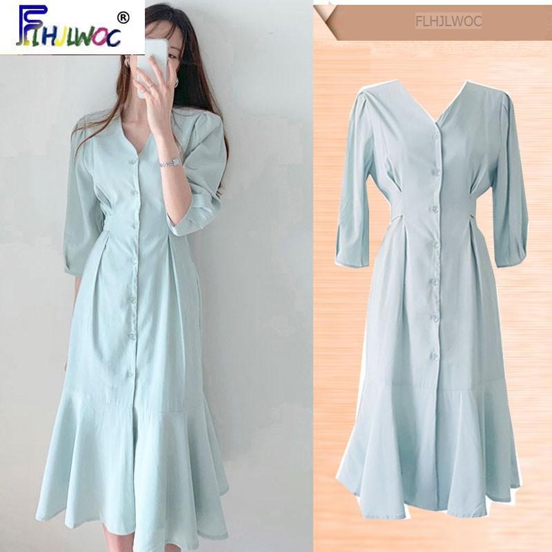 Mizaç şık elbise Yeni Tasarım Sıcak Kadınlar Flhjlwoc Kore Japon Stili Ofis Lady Şık Düğme Gömlek Elbise Uzun 5318