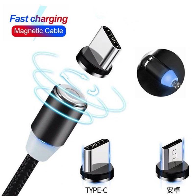 1M 2M USB magnétique Câble Type C Micro USB Câble de charge rapide Netting Ficelle tressé 2A seule charge pour Huawei Samsung Xiaomi