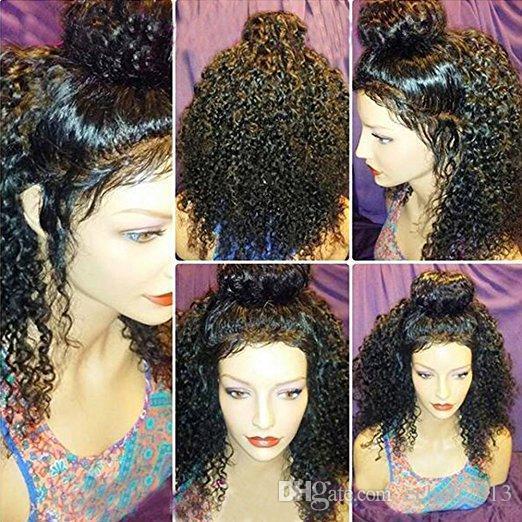 360 Lace Parrucca Frontal 180% Densità merletto pieno dei capelli umani parrucche per le donne brasiliano del nero 360 parrucca del merletto capelli del bambino (12inch, riccio crespo)