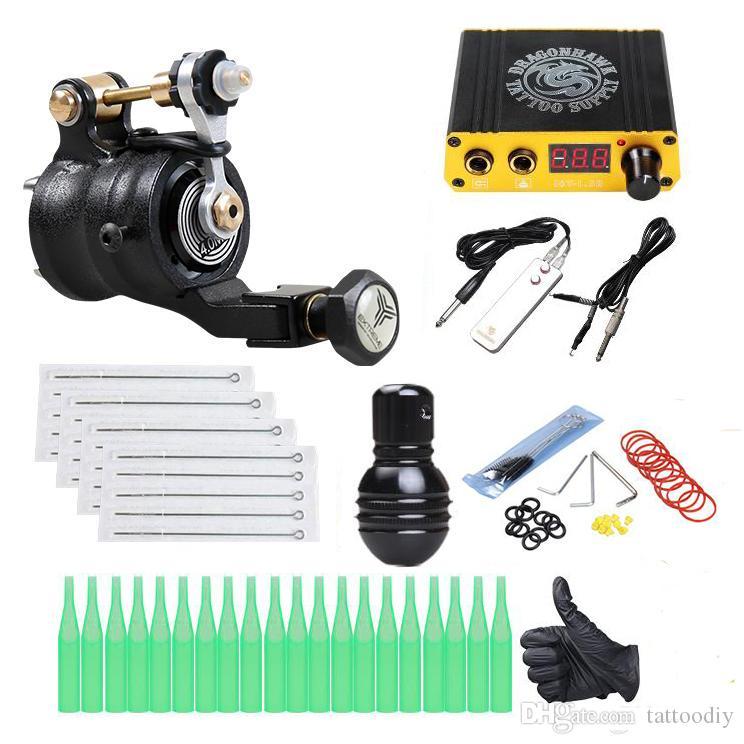 Professional Rotary Tattoo Kit Rotary Motor Gun LCD Power Supply Disposable Needles Tips Grip Tattoo Supply
