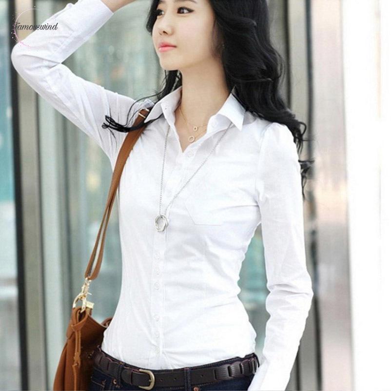 Blouses Automne Printemps Femmes Carrière Blanc Femmes Débardeurs Taille Plus Femme Slim long T-shirt à manches Chemisier