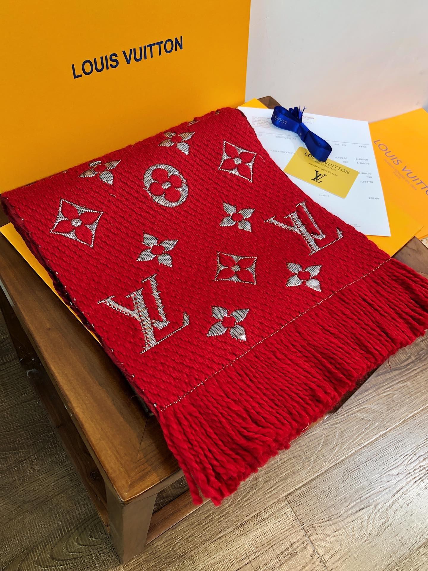 2019 Inverno LOGOMANIA SHINE lusso di marca Sciarpa donne e gli uomini Due laterale Nero seta rossa coperta di lana Sciarpe Fashion Designer Fiore Sciarpe
