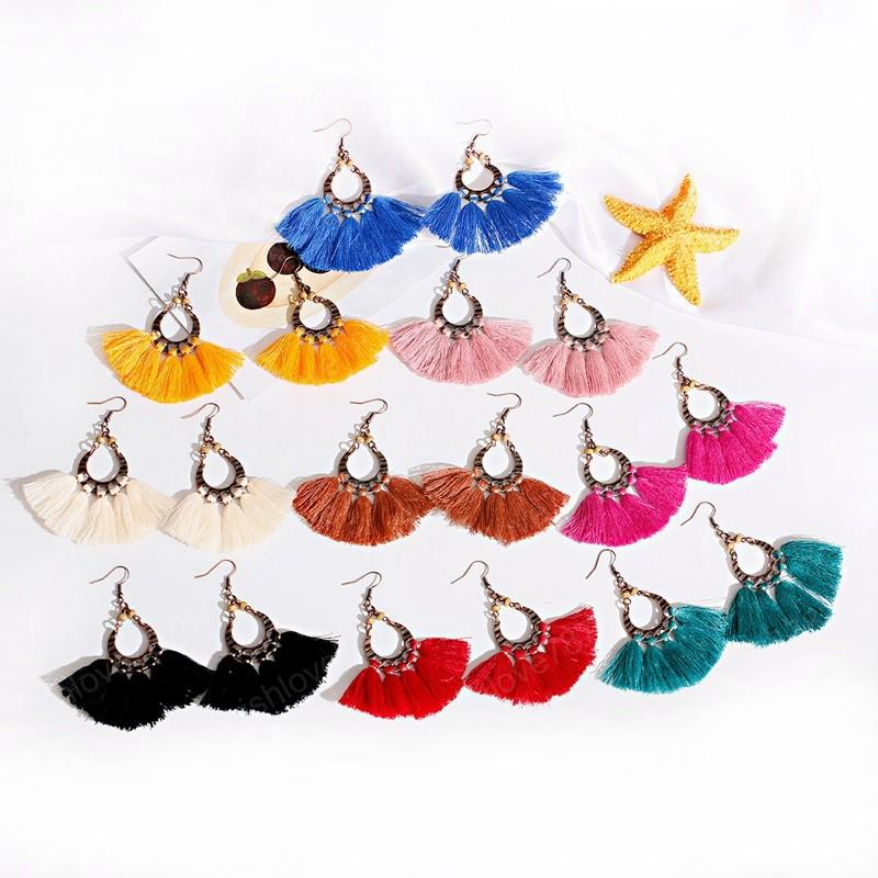 Pink Tassel Earrings For Women Bohemian Handmade Fringe Earrings Fashion Jewelry Oorbellen Hangers