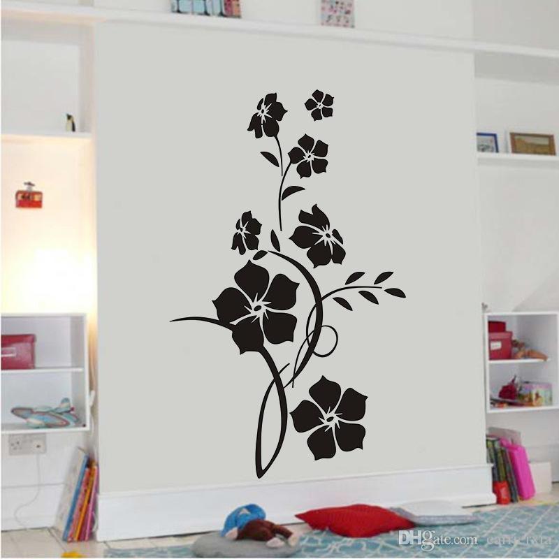 검은 우아한 꽃 VIne 아트 스티커 PVC 크리 에이 티브 벽 장식품 거실 침실 장식
