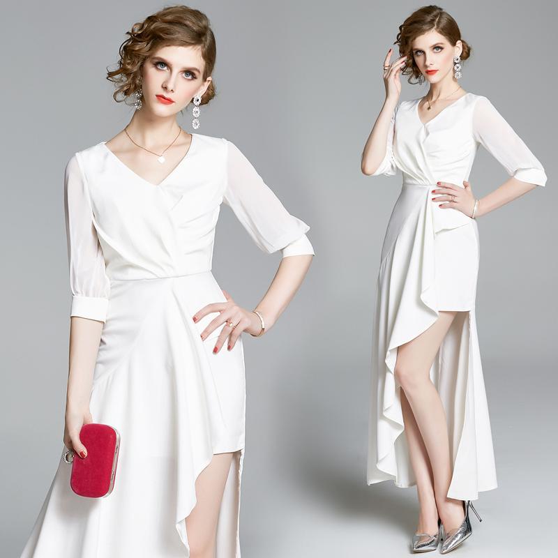 Günlük Elbiseler kadın Elbise 2021 Yaz Mizaç Fishtail Etek