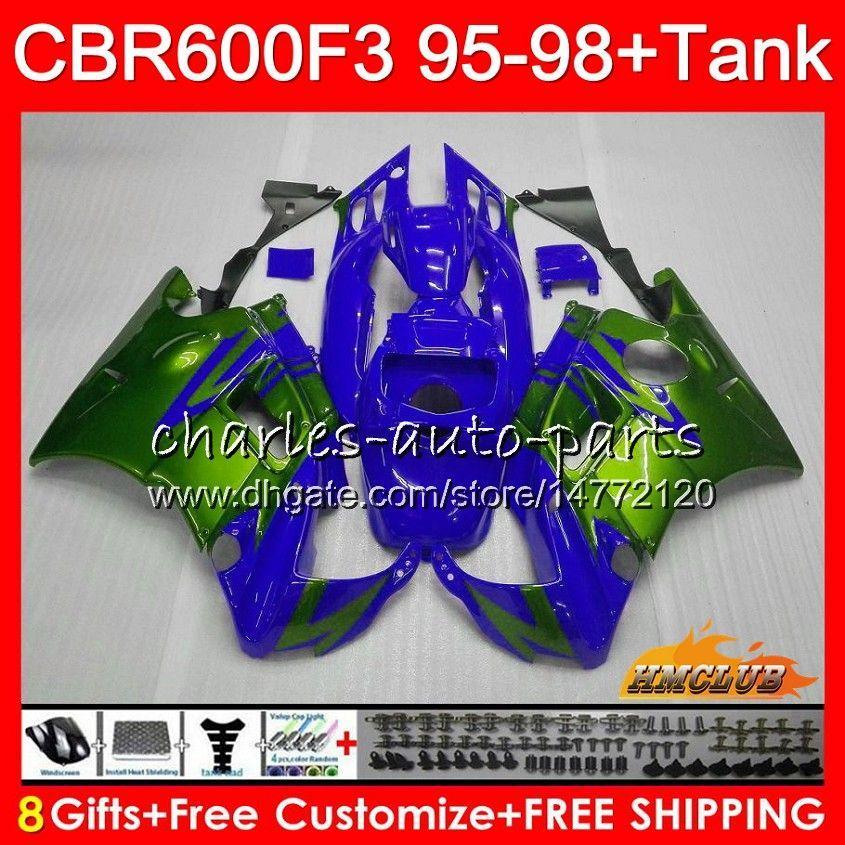 Kit + réservoir pour HONDA CBR 600 FS CBR600RR 1995 1996 1997 1998 41NO.235 CBR600F3 CBR 600F3 CBR600FS CBR600 F3 95 96 97 98 bleu vert carénages