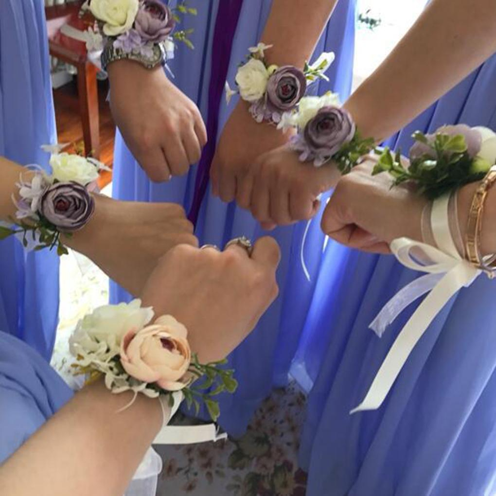 Elegant Mini Wedding Bridesmaid Wrist Fake Flower Artificial Hand Flower Wristband Women Bracelet