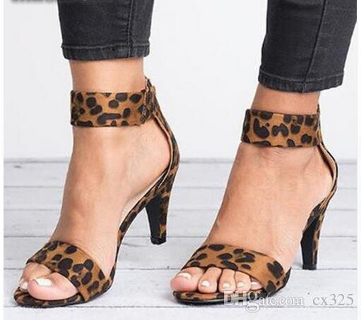 Primavera Mujeres Bombas Tacón alto delgado Punta abierta Cremallera Suede Boda Leopardo Plataforma Oficina Damas Sandalias Zapatos Sapato Feminino 630W