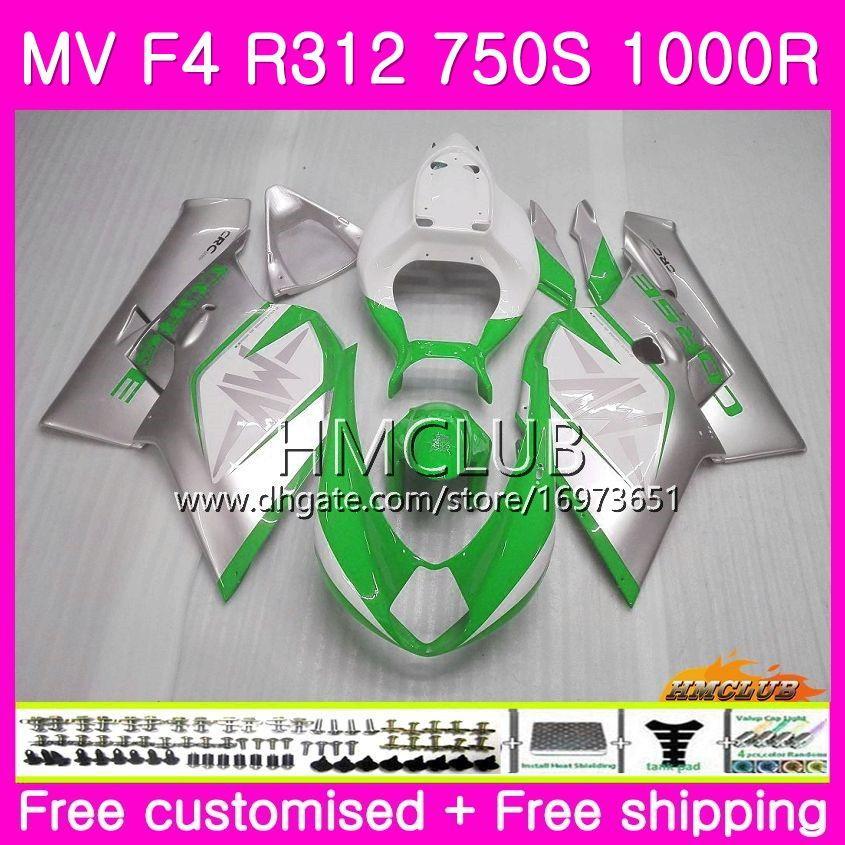 바디 용 MV Agusta F4 MV-F4 R312 750S 1000 R 750 1000CC 05 06 키트 27HM.0 1000R 312 1078 1 + 1 MA MV F4 2005 2006 05 06 페어링 그린 은빛
