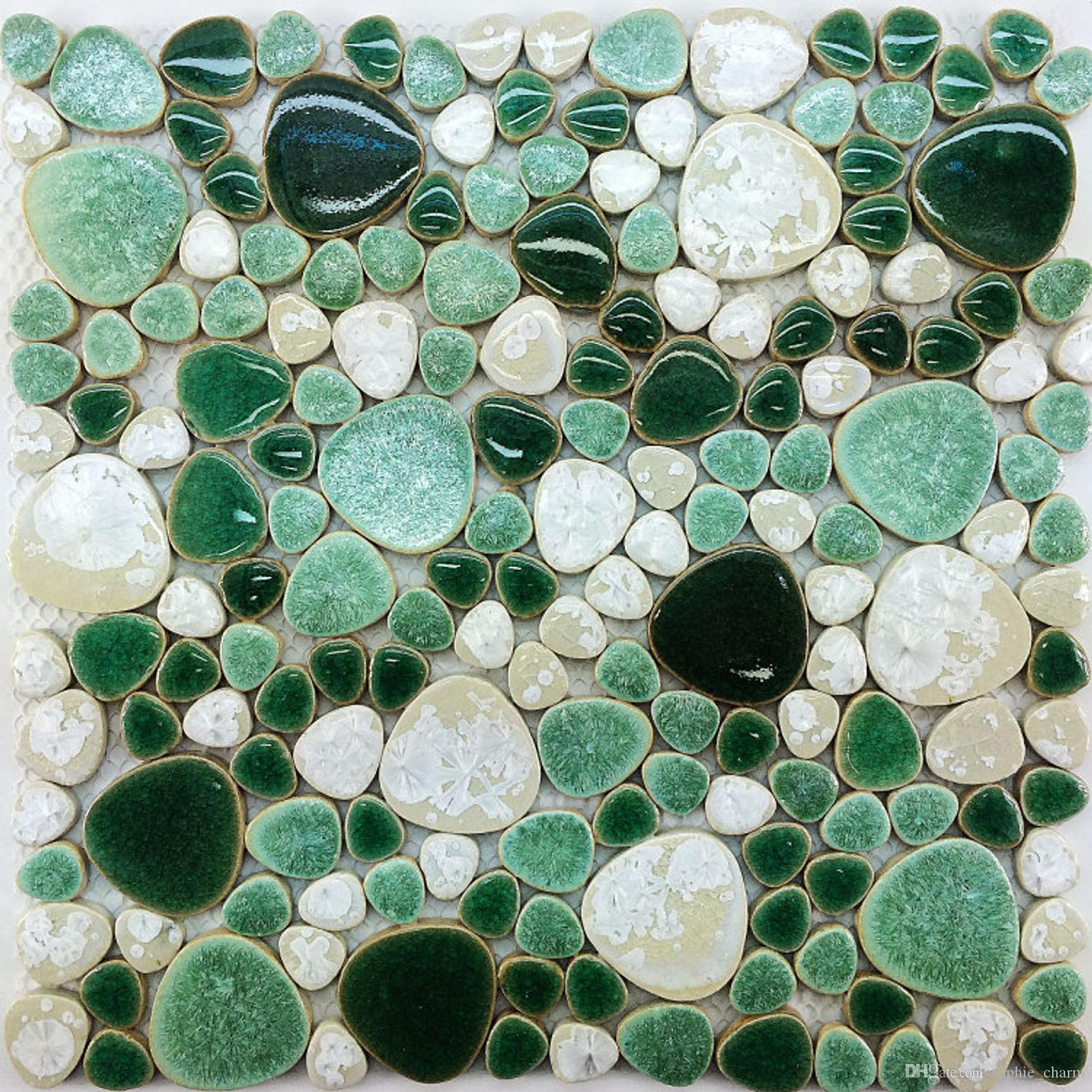 Green mix White pebble porcelain ceramic mosaic kitchen bathroom wall tile PPMT051 swimming pool flooring tiles