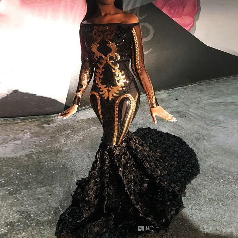 Cheap Sparkly Sexy Sheer Long Sleeve Mermaid Boat Neck Golden Sequin African Floor Length Black Long Prom Dresses 2019 For Party