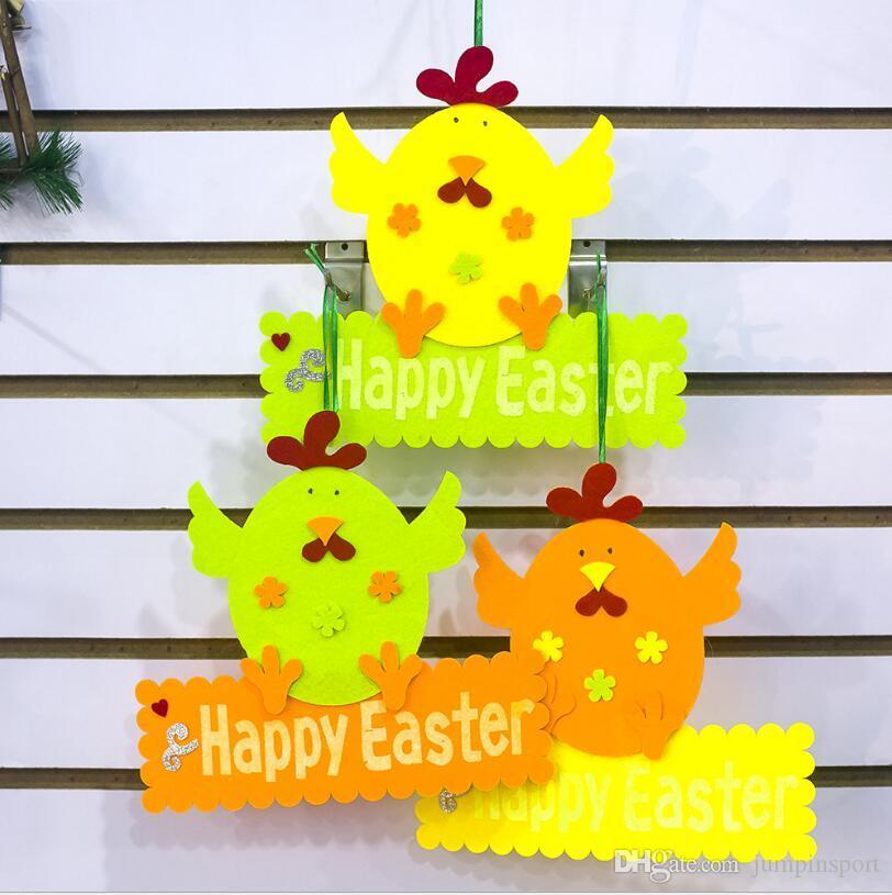 Puerta Pascua Feliz decoraciones de Pascua Ester suspensión de puerta de la pared de colgante Puerta Señal de bienvenida polluelos colgante al aire libre de la decoración