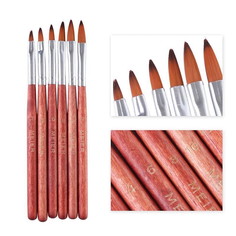 6 Stücke Kristall Acryl Salon Nail art Pinsel Nagel Stift Zeichnung Farbe Maniküre Zubehör