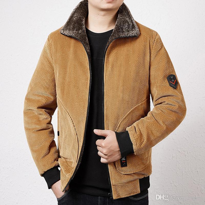 Hiver Mens Corduroy Lapel veste de velours de couleur unie Zipper Fly Épaissir en vrac Homme Designer Warm Coat