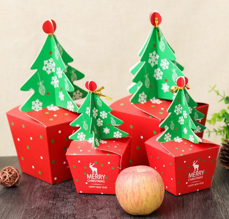8 * 8cm 3d red gift box Albero di Natale con Bell carta di caramella di Cookie Cholocate carta di Apple Scatole Buon Natale Decorazione Packaging