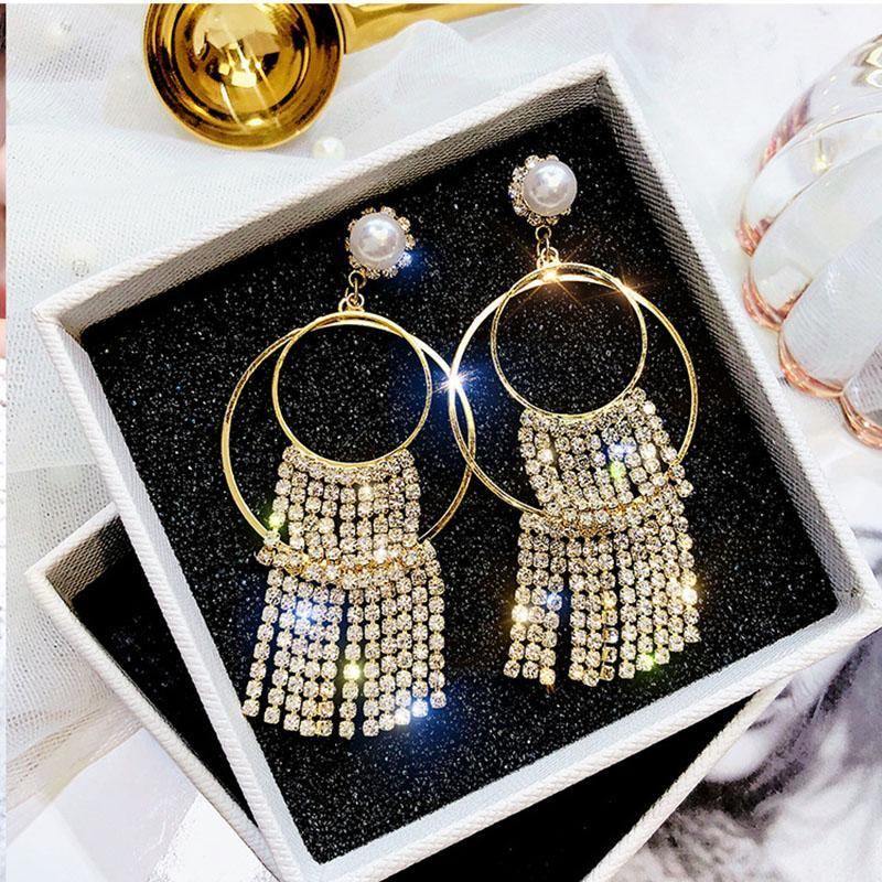 Europe and America Exaggerated Round Tassel Long Earrings New Fashion Zircon Earrings Personalized Women Jewelry