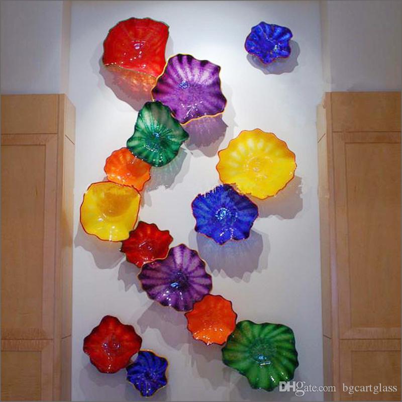 Цветочный дизайн ручной работы выдувные стеклянные настенные светильники европейский стиль индивидуальные выдувные настенные светильники из муранского стекла Арт дизайн настенных плит