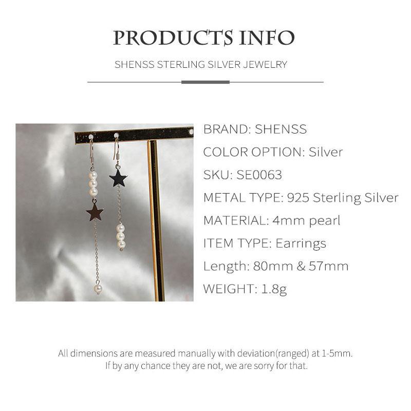 SHENSS Elegant Quality 925 Sterling-Silver-Jewelry Earring For Women Fashion Stars Shell Pearl Jewelry Tassel Earrings SE0063