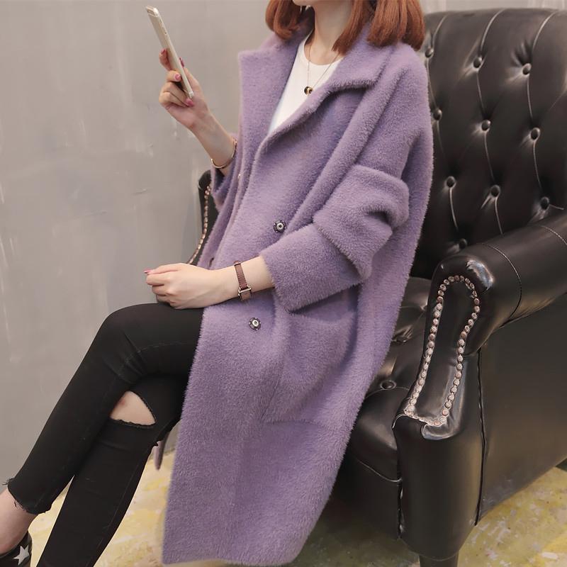 2019 New Coat Mulheres Autumn Knit Cardigan Brasão Imitação Mink Cashmere solto camisola Coats Feminino Casacos AN050