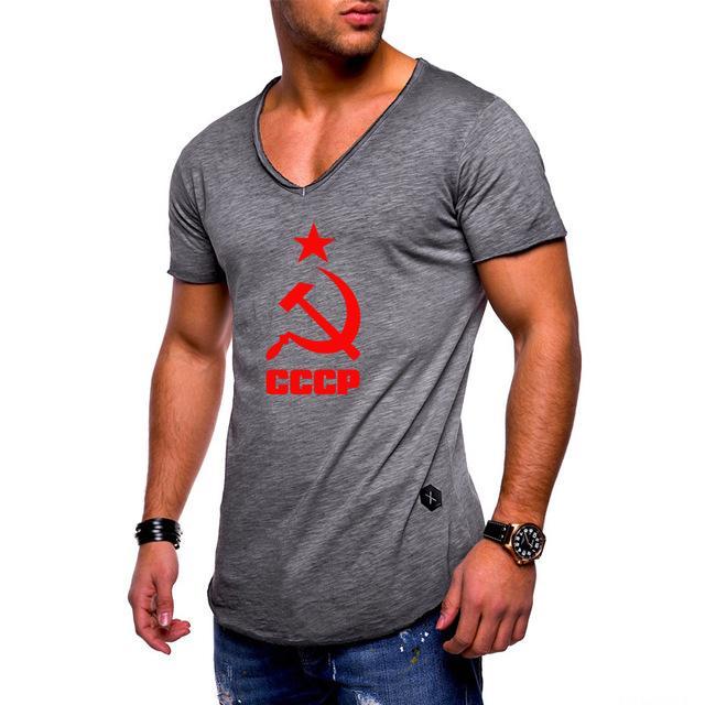 CCCP Rus SSCB Sovyetler Birliği f Yeni 2020 Erkek Tişört Katı renk Pamuk Kısa kollu Moda Casual V yaka Tişört Tops yazdır