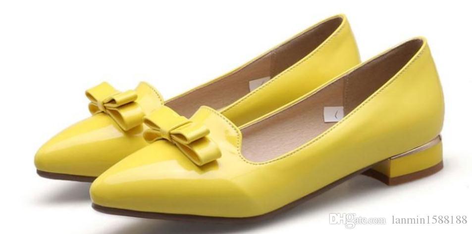 الأحذية 2019 المرأة في الربيع والخريف مع نمط جديد منخفض كعب نهاية مدببة BOWKNOT @ 2119