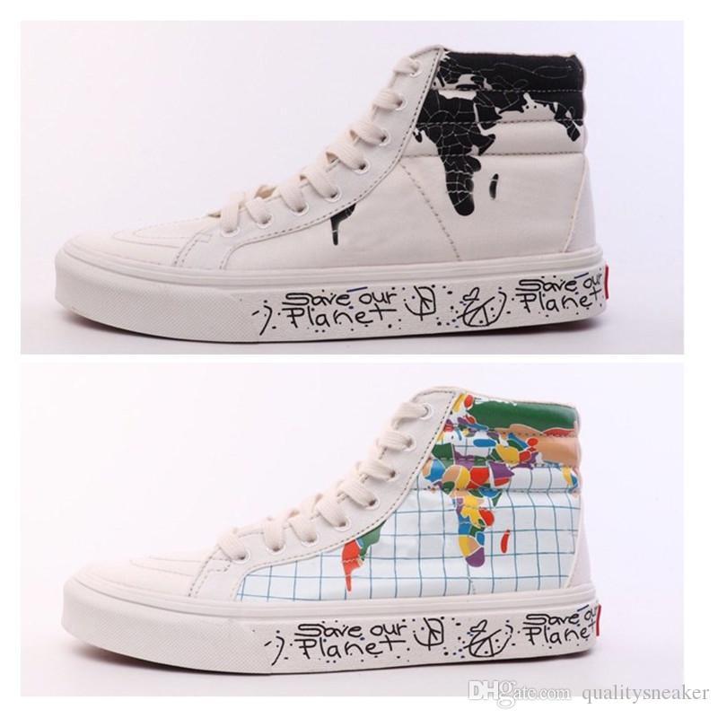 Новое прибытие спасти нашу планету развлекательный центр Sk8-Hi обувь Мужчины Женщины высокого верха старая школа кроссовки размер повседневная холст обувь 35-44
