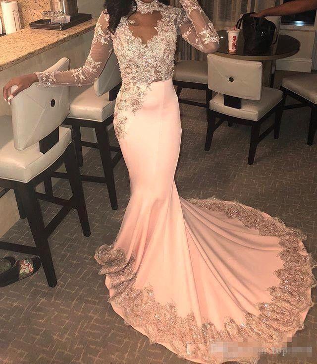 Vestidos De sexy rosa della sirena Prom Dresses Gala 2019 Illusion alto collo di promenade Sheer a manica lunga vestiti da partito formale