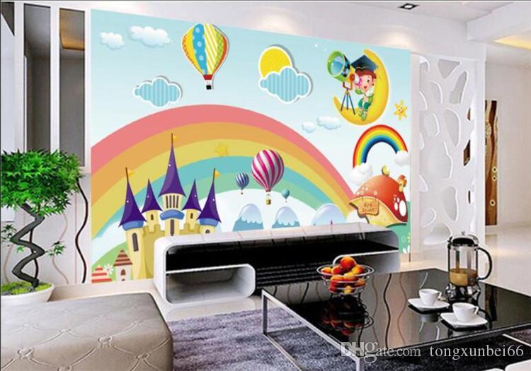 사용자 정의 벽지 어린이 방 벽화 레인보우 성 만화 배경 어린이 벽 벽 벽의 벽지 papel de parede