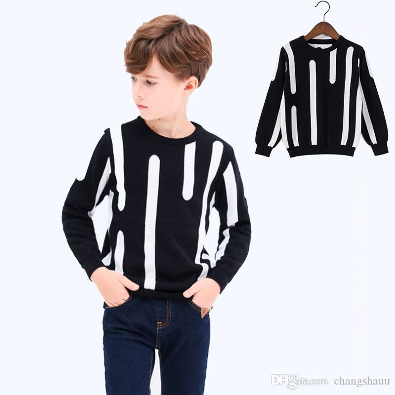 Boys Top Clothing Contrast Color Kids Knitted Boys Winter Pullover Sweater