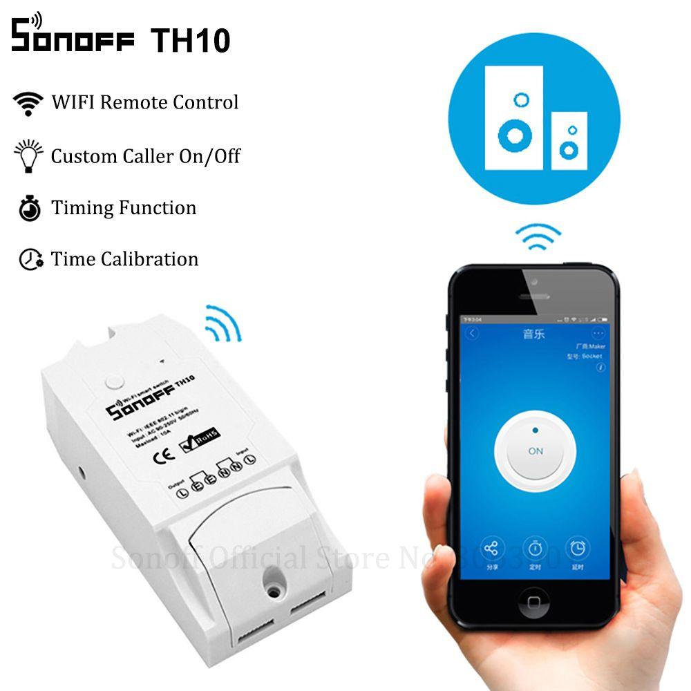 Sonoff Th10 Wi-Fi Smart Switch 10A 2200W беспроводной коммутатор Smart Home Automation Модули с датчика температуры влажности Monitor