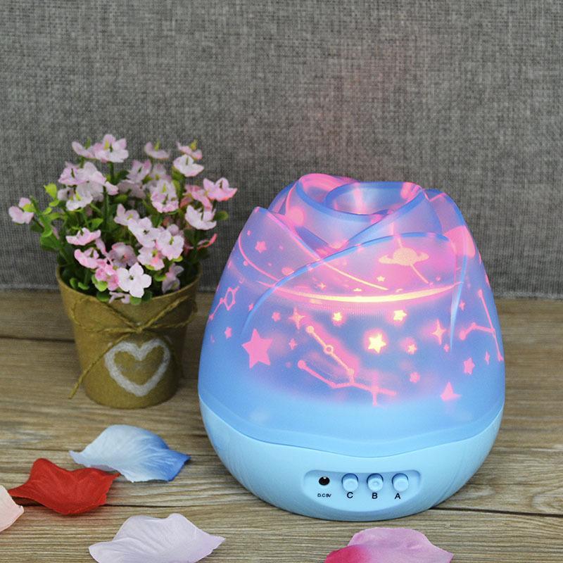 Pivotée Floral Starry projecteur coloré Rose Flower LED Projection Mini Nuit Star Light Table Atmosphere Lampes de bureau