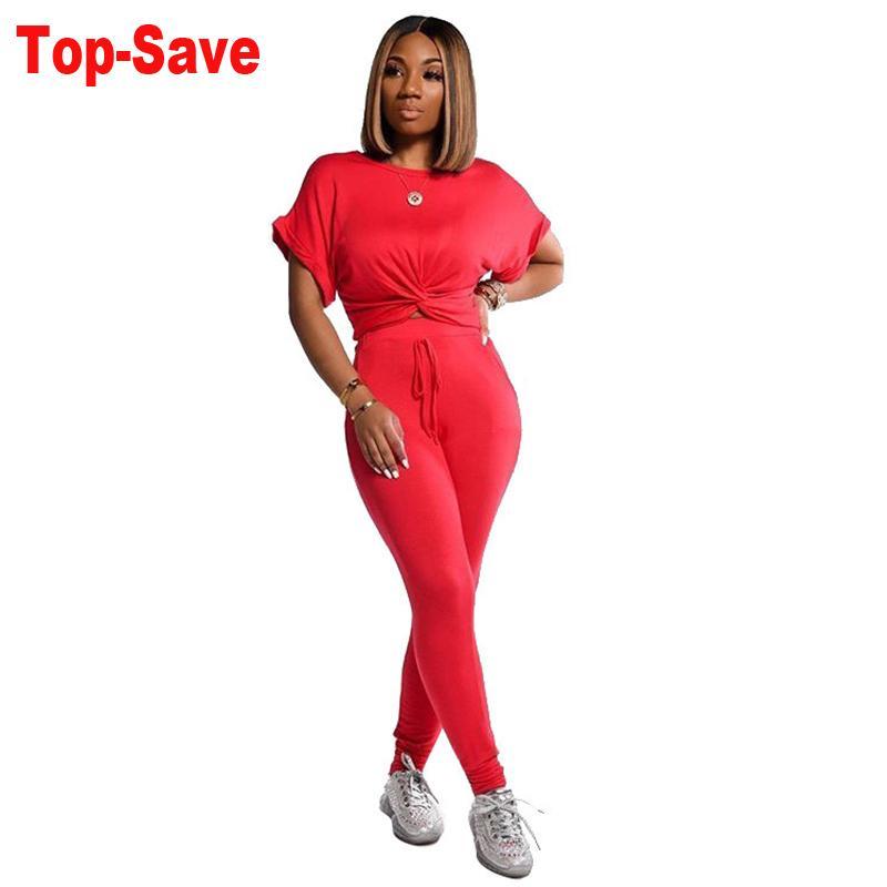 Women Solid half Sleeve CropTop Slim Outfit Tracksuit Two Pieces Set High Elastic Skinny Leggings Female Sportswear Matching Set