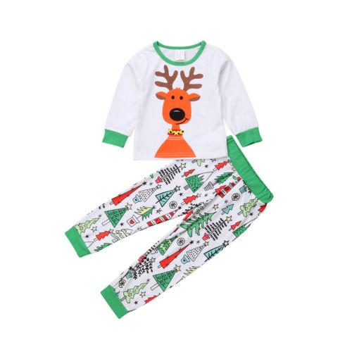 Дети мальчик девочка Рождество с длинным рукавом олень пижамы топы + брюки  пижамы домашняя одежда наряды cbd5af74aa7ba