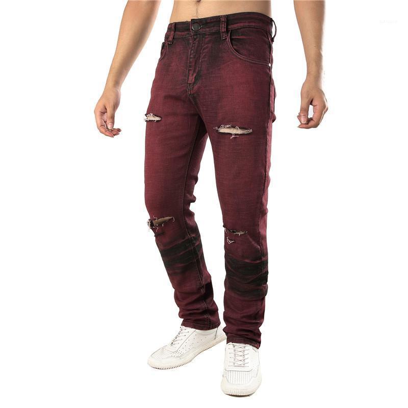Slim Mens Stretch Jeans Designer Fashion Pantalons Hommes trous oblongs Homme Vêtements rouge droit
