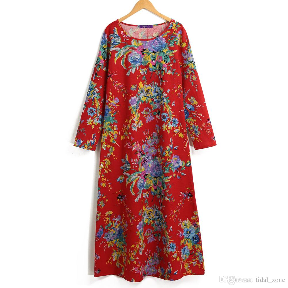 2019 new fashion Women European and American fashion explosive cotton and linen printing large-size long-sleeved Camellia dress