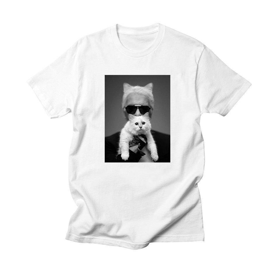 T-shirt Karl Cat T-shirt Lagerfeld Vogue Femme Blanc / noir 100 Coton Décontracté Gothique Tee Designer Top Femme Streetwear T-shirts Y19072701
