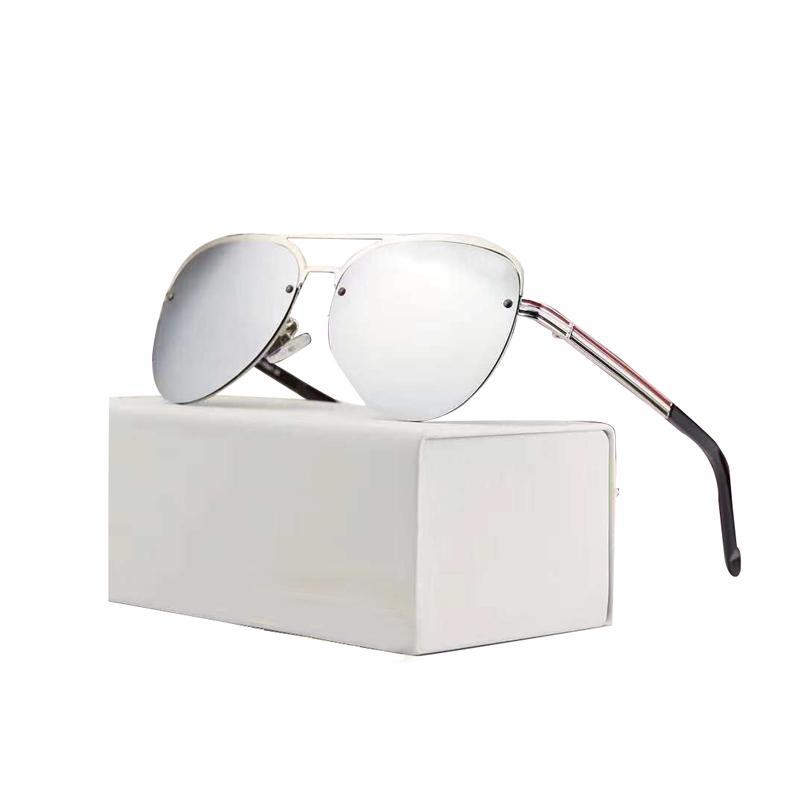 Caja de lujo Gafas de sol Piloto Polarizado Hombre de calidad Hombre de Lujo Gafas con Diseñador UV Protección Polarizando Sol Alto Gafas de sol 100% Cmoh