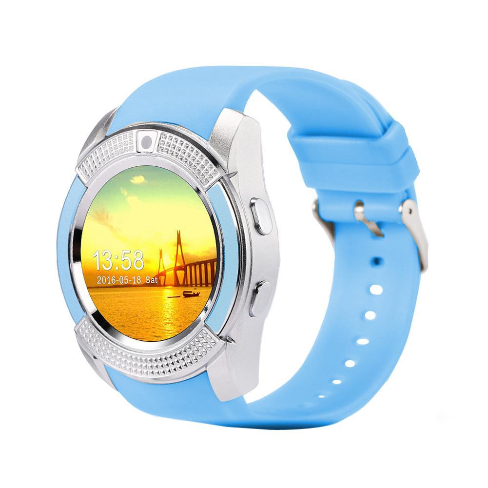 Bluetooth V8 Relógio Inteligente Saúde Relógio de Fitness Pulseira Pedômetro SIM GSM Cartão Relógio Inteligente para iOS / Android