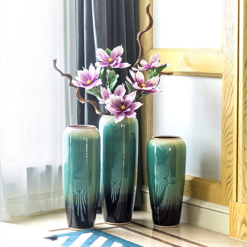 Floor Vases For Living Room.New Chinese Style Living Room Tv Cabinet Porch Floor Vase Decoration Large Size Flower European Style American Cerameria Vase Green Vases Green Vases
