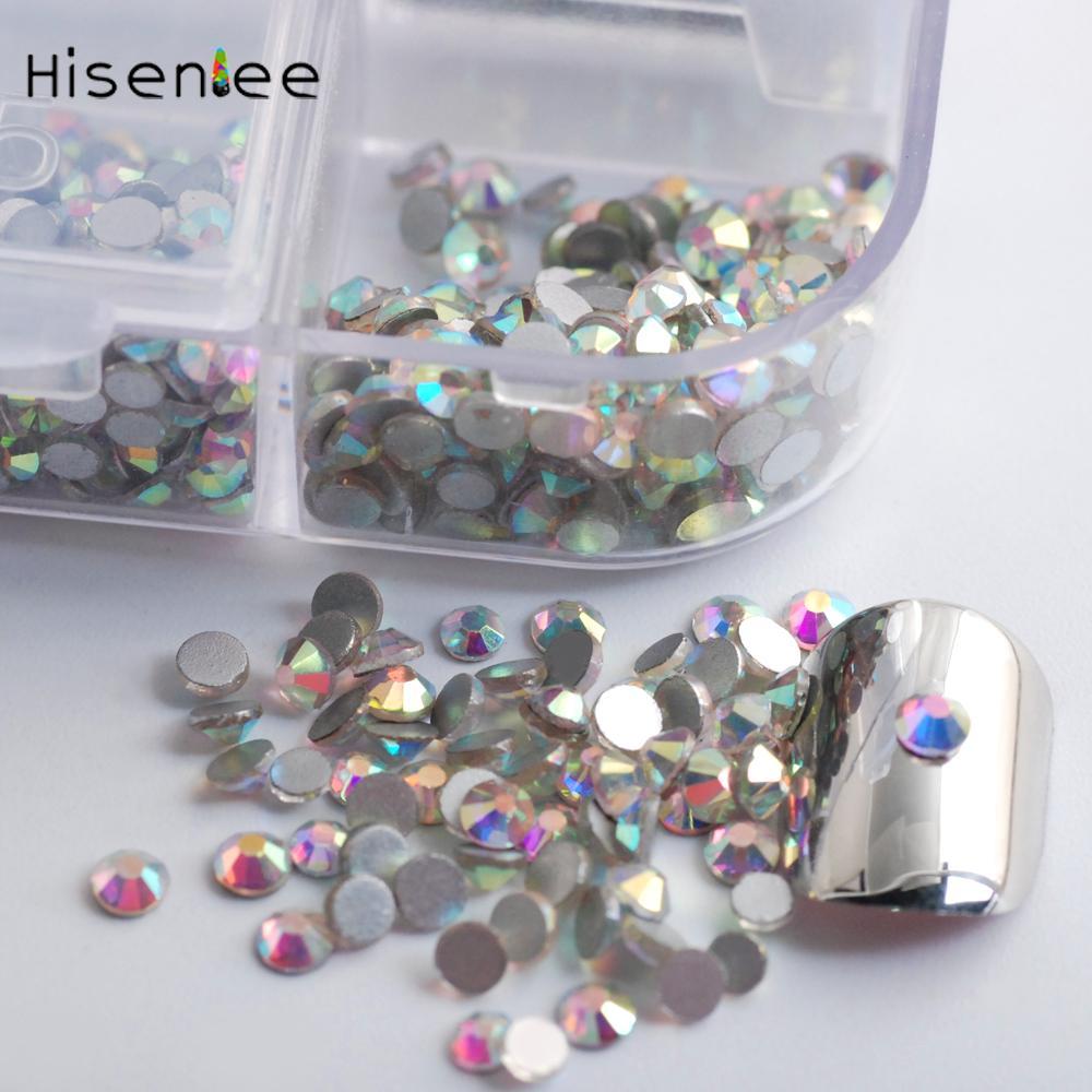 Haute qualité 3456pcs SS3-ES10 6Sizes cristal transparent AB couleur décoration strass verre 3D bricolage design nail art