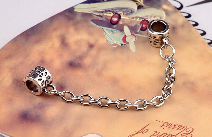 chapado en cadena de seguridad flores al por mayor de plata-agujero grande de los granos flojos de Pandora DIY joyería de la pulsera pulsera de cuentas colla Europea