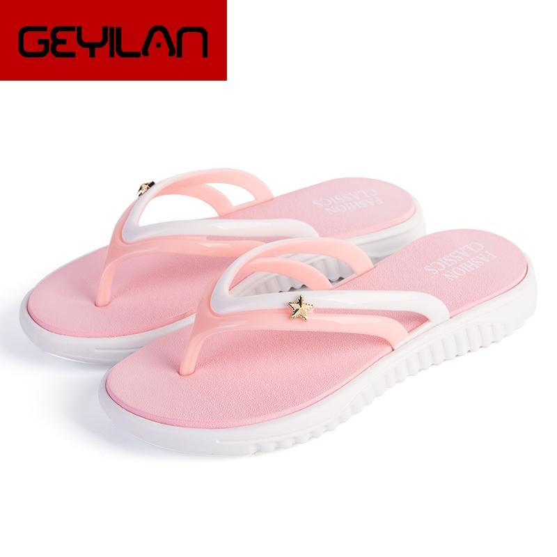 Femmes d'été Slip-on Chaussures anti-dérapant Résistante Loisirs Mode Chaussons Plage Natation marche à l'intérieur T-tied Flip Flops
