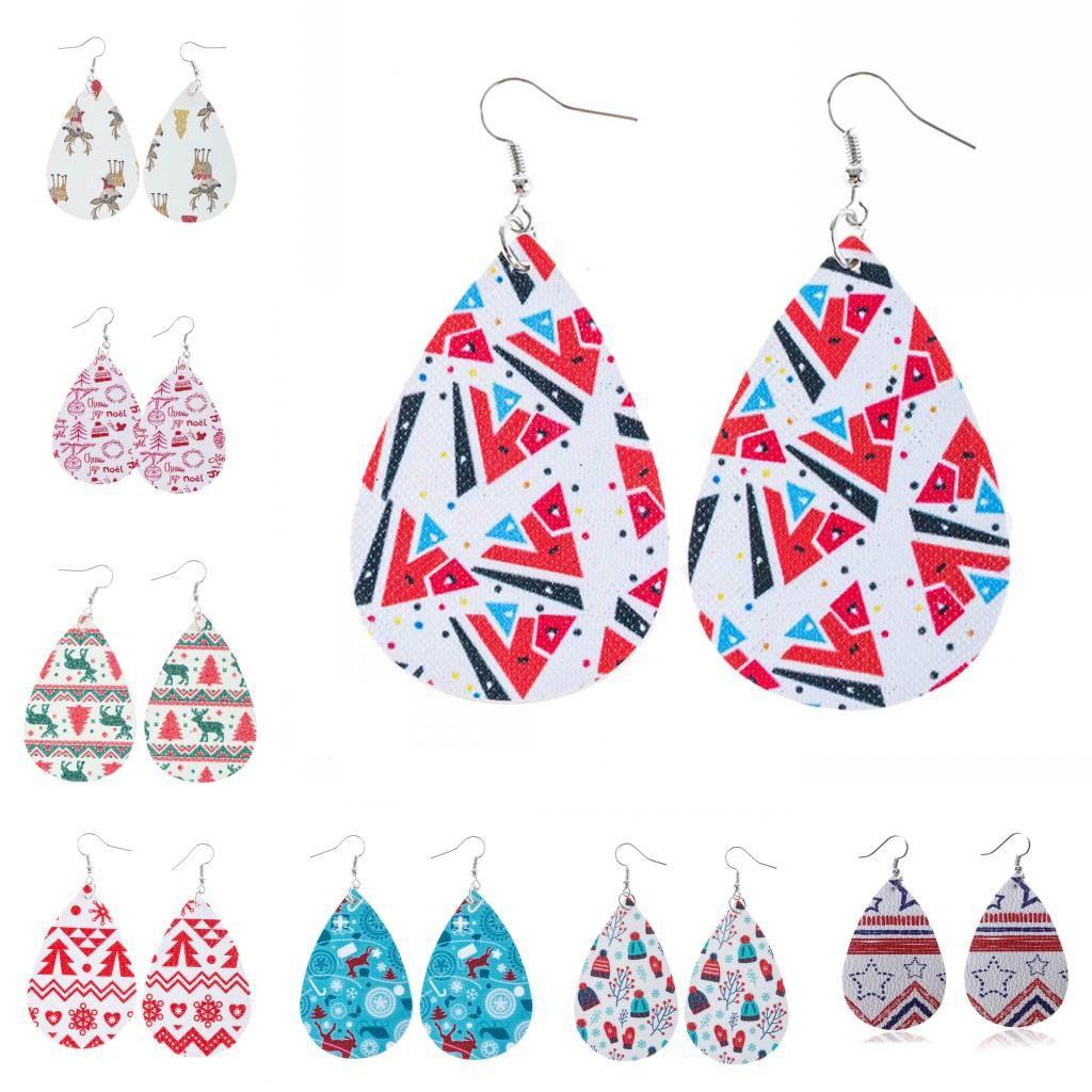 2020 Christmas Earrings Holiday Jewelry gifts for Women Girls Snowman Snowflake Sock Santa Claus Tree Hanging Drop Dangle Earrings